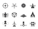 Silhouette different kinds of future spacecraft icons - vector icon set