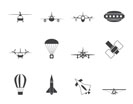 Silhouette different types of Aircraft Illustrations and icons - Vector icon set 2