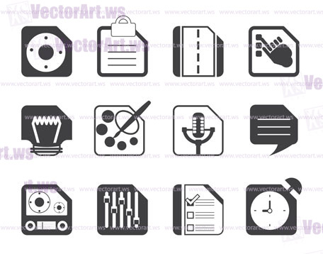 Silhouette Mobile Phone, Computer and Internet Icons - Vector Icon Set 3