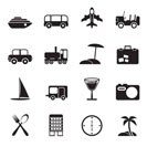 Silhouette Travel, transportation, tourism and holiday icons - vector icon set