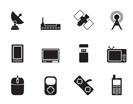 Silhouette technology and Communications icons - vector icon set