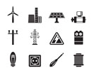 Silhouette Electricity and power icons - vector icon set