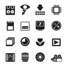 Silhouette Digital Camera Performance - Vector Icon Set