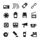 Silhouette Cinema and Movie - vector icon set