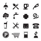 Silhouette Petrol Station and Travel icons - Vector Icon Set