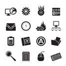 Silhouette Computer, mobile phone and Internet icons -  Vector Icon Set