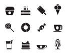 Silhouette Sweet food and confectionery icons - vector icon set