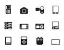 Silhouette technical, media and electronics icons - vector icon set