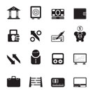 Silhouette Bank, business and finance icons - vector icon set