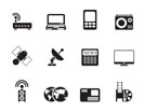Silhouette Business, technology  communications icons - vector icon set
