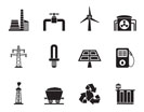 Silhouette Power and electricity industry icons - vector icon set