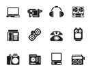Silhouette electronics, media and technical equipment icons - vector icon set