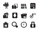 Silhouette Computer and website icons - vector icon set