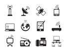 Silhouette communication and technology icons - vector icon set