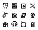 Silhouette mobile phone and computer icons - vector icon set