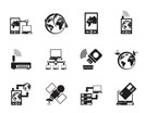 Silhouette communication, computer and mobile phone icons - vector icon set