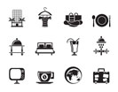 Silhouette Hotel, motel and holidays icons - vector icon set