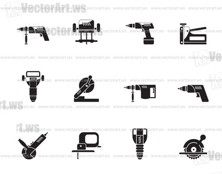 Silhouette Building and Construction Tools icons - Vector Icon Set