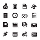 Silhouette Phone Performance, Business and Office Icons - Vector Icon Set