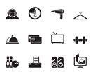 Silhouette hotel and motel amenity icons  - vector icon set