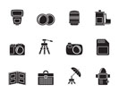Silhouette Photography equipment icons - vector icon set