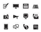 Silhouette Communication channels and Social Media icons - vector icon set