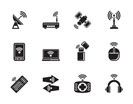 Silhouette Wireless and communication technology icons - vector icon set