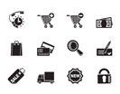 Silhouette Internet icons for online shop - vector icon set