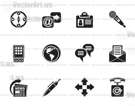 Silhouette Business, office and internet icons - vector icon set