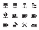 Silhouette Network, Server and Hosting icons - vector icon set
