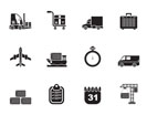 Silhouette logistics, shipping and transportation icons - vector icon set