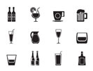 Silhouette different kind of drink icons - vector icon set