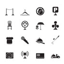 Silhouette restaurant, cafe, bar and night club icons - vector icon set