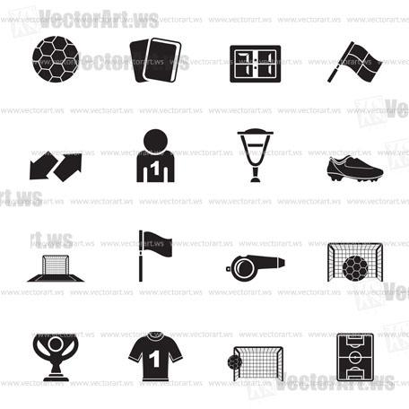 Silhouette football, soccer and sport icons - vector icon set