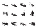 Silhouette different kind of transportation and travel icons - vector icon set