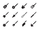 Silhouette different kind of kitchen accessories and equipment icons - vector icon set