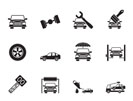 Silhouette auto service and transportation icons - vector icon set