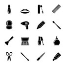 Silhouette cosmetic, make up and hairdressing icons - vector icon set