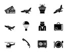Silhouette Airport and travel icons - vector icon set