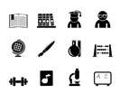 Silhouette school and education icons - vector icon set