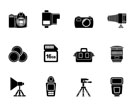 Silhouette Photography equipment and tools icons - vector icon set
