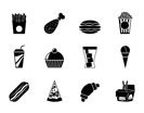 Silhouette fast food and drink icons - vector icon set