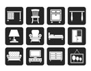 Silhouette Home Equipment and Furniture icons - vector icon set