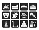 Silhouette Different Kinds of Toys Icons - Vector Icon Set