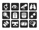 Silhouette Optic and lens equipment icons - vector icon set