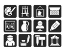 Silhouette Fine art objects icons - vector icon set