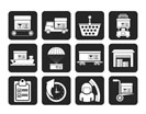 Silhouette Logistic, cargo and shipping icons - vector icon set