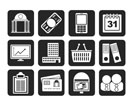 Silhouette Business and finance icons - vector icon set
