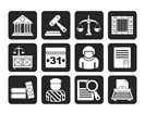 Silhouette Justice and Judicial System icons - vector icon set