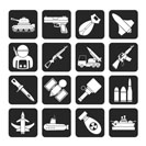Silhouette Army, weapon and arms Icons - vector icon set
